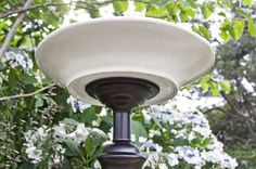 Love lamps but out of places to put your new thrift store find? Use an old lamp base to create a unique recycled DIY bird bath that your birds will love.