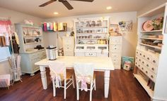 Sharon Kropp of Little Yellow Bicycle has transformed her old garden shed into an inviting craft nook in her backyard