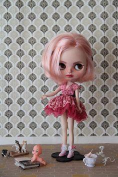 Severine - TBL Fake Blythe cute Custom Doll Pink Hair