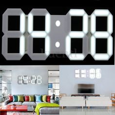 Remote Control Large 3D Modern Digital LED Wall Clock Timer 24/12 Hour Display | Wall Clocks | Clocks - Zeppy.io