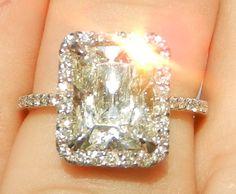 IGI Certified 3.67 Carat Diamond Engagement Ring 14kt Solid Gold W/ IGI Laser Inscription. $10,000.00 USD, via Etsy.