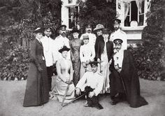 Gathering of family and friends including Grand Duke Sergei Alexandrovich, Grand Duke Ludwig of Hesse and his children Victoria, Ernst, Elisabeth and Alix