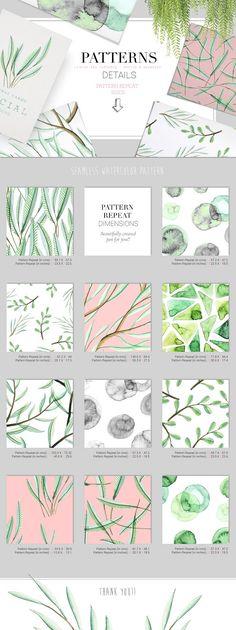 Fresh Seamless Watercolor Patterns! by TSTUDIO on @creativemarket