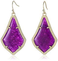 "Kendra Scott ""Signature 2015"" Alex Drop Earrings in Purple Jade/Gold"