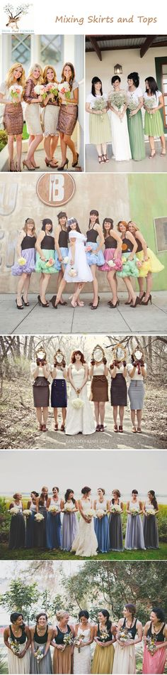 unique bridesmaid dress ideas - mixing skirts and tops mismatched bridesmaid dress