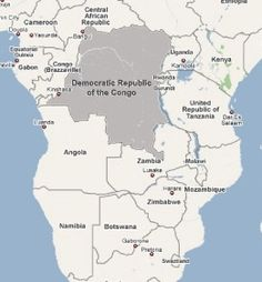Map of Democratic Republic of Congo.