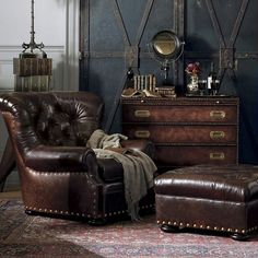Ralph Lauren Leather Writers Chair and Ottoman