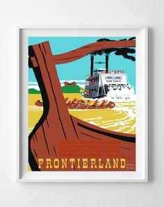 Vintage Disneyland Poster Print River Pirate Keel by InkistPrints