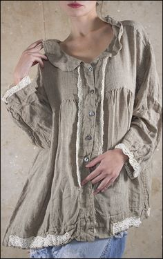 Linen Hallie Button Front Top with Cotton Lace Accents and Tie Keyhole in the Back, Walnut