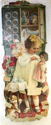 "1908 Grand Union Tea Co Advertising Die Cut Calendar ""Tea Party"" Girl Dolls | eBay"