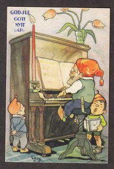 X0116 Postcard 3x4 God Jul Gott Nytt AR Elves Piano   eBay