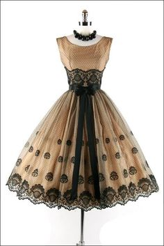 Gorgeous 1950's tan and black lace dress