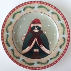 Sakura Holiday Cats Salad Dessert Plate Green Cloak Coat Hat Fiddlestix | eBay