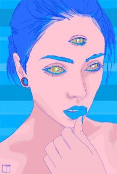 girl trippy hippie drugs weed lsd acid trip blue colours psychadelic psycho