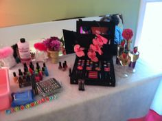 Makeup station at little girls spa birthday party by Jola's joyful events www.jolasjoyfulevents.com