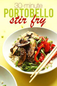 Portobello Mushroom Stir Fry with 10 ingredients and 30 minutes required! #vegan #glutenfree #stirfry #plantbased #stirfry #healthy #easy