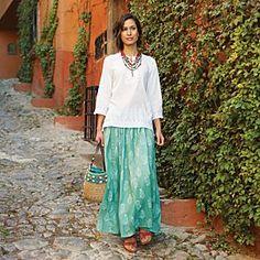Indian Block-print Skirt- summer cool!