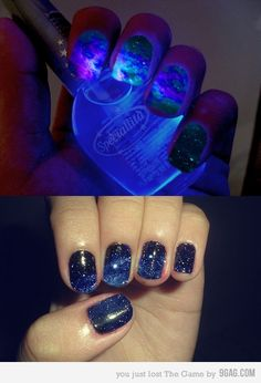 cool!  galaxy nails! My job wont allow me to have nail polish, so someone please do this for me!