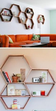 DIY Honeycomb Shelves   Click Pic for 26 DIY Living Room Decor on a Budget   DIY Living Room Decorating Ideas by proteamundi