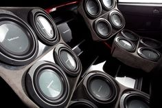 Rockord Fosgate Mitsubishi EVO Custom Car Audio, Custom Cars, Custom Car Interior, Subwoofer Box, Car Audio Systems, Car Sounds, Rockford Fosgate, Audio Sound, Audio Equipment
