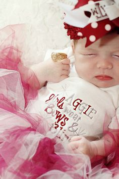 Texas A Baby Girl Onesie - Aggie Girls Wear Bows and Bling w/ Swarovski Crystals on Etsy, $24.00