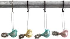 Colorful Birds with Tinsel Tails Glass Hanging Christmas Ornament Set