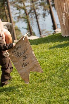 Here Comes Your Girl Burlap Wedding Banner - Ring Bearer or Flower Girl Sign. $35.00, via Etsy.  I like it!