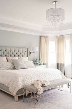 chic bedroom of neutrals + two tone curtains