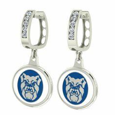 Butler Bulldogs Jewelry - Small Silver CZ Hoop Earrings $129