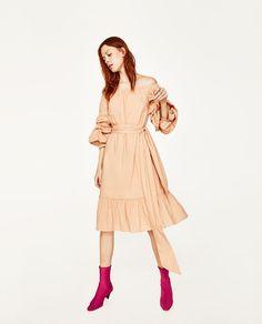 ZARA - WOMAN - OFF-THE-SHOULDER POPLIN DRESS