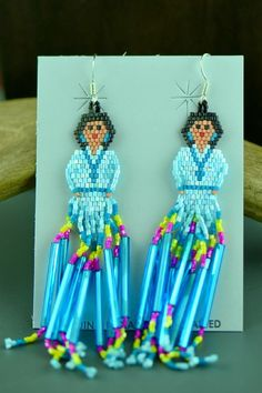 Beaded Sterling Silver Navajo Girl Earrings by Sandra Parkett