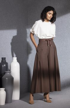 Summer Friendly Brown Pant In Cotton is available online. Dark Green Shirt, Chic Outfits, Fashion Outfits, Modest Fashion, Striped Jacket, Brown Pants, Long Jackets, How To Look Classy, Designer Dresses