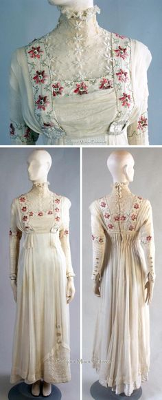 Wedding gown, 1910. Oyster-colored satin overlaid with voile. Yoke & high neck of net embroidered with flowers & leaves. Long fitted sleeves are tucked & edged with lace at wrists; have 5 satin-covered buttons from wrist to elbow. Bodice & shoulders also overlaid with voile and threaded through satin-covered buckles to form tabs beneath bustline. Voile overskirt falls from bust from open tucks that give fullness to skirt. Busby Auctions/LiveAuctioneers