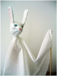 Paper Mache Bunny Puppet.  Nice project for a puppet theatre.  WhiteRabbit