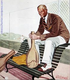 A cotton sport jacket worn for tennis or spectator sports. Rubber soled shoes and white flannel trousers. Esquire, July 1934, p. 111.