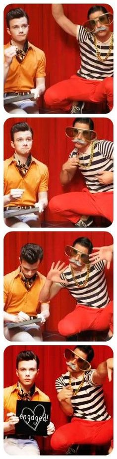 Glee. Blaine and Kurtthey r funny one of the best couples in glee