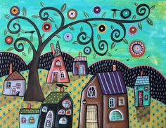 Aqua Sky 11x14 ORIGINAL CANVAS PAINTING houses tree cat FOLK ART Karla Gerard #FolkArtAbstractPrimitive