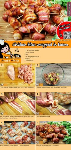 Chicken bacon wrapped recipe with video - party recipe .- Hähnchen-Happen im Speckmantel Rezept mit Video – Partyrezepte Chicken bacon wrapped recipe with video - Grilled Chicken Recipes, Bacon Recipes, Grilling Recipes, Brunch Recipes, Breakfast Recipes, Party Recipes, Recipe Chicken, Bacon Wrapped Chicken, Chicken Bacon