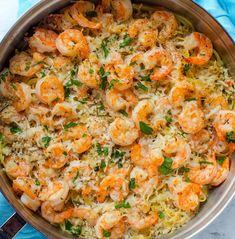Garlic Parmesan Shrimp Scampi Pasta | Food Recipes
