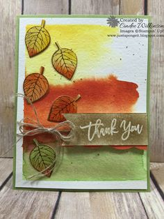 Just Sponge It: Four Seasons, Using Thoughtful Branches, Thoughtful Branches Bundle, Water Color Paper, Big Shot, Re-inkers, Clear Bock F, Washi Tape, Stampin' Up!, DIY, Thank you