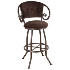 "Callee Walton 30"" Swivel Bar Stool Frame Finish: Flintrock Gray, Upholstery: Victoria Dark Brown"
