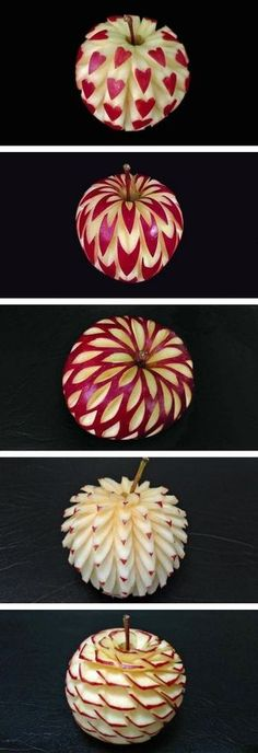 Beautiful apples art carving ~ now, I think I'm pretty creative but this I could not doLook at these amazing apple carvings!Apple carvings to decorate your Rosh Hashana table Without the apple turning brown?I guess I've been eating apples the wrong way. Cute Food, Good Food, Yummy Food, Fruit And Vegetable Carving, Food Carving, Pumpkin Carving, Apple Art, Snacks Für Party, Food Decoration