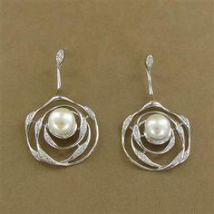 Sterling Silver Pearl and Cubic Zirconia Rose Cutout Earrings - Fire and Ice