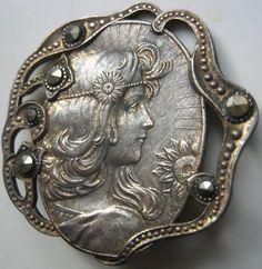 Antique Button Beautiful Woman New Art Knopf Ancien Art Nouveau Knop | eBay