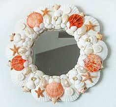 Kissed By Little Mermaids,Small Seashell Mirror / Small Seashell Mirrors / Shell Decor™ > Beautiful, decorated Sea Shell and Seashell Mirrors.