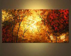Artículos similares a Paisaje árboles florecientes pintura Original acrílico moderno abstracto por Osnat - confeccionar - 48