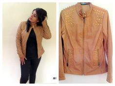 Jazz up your look with this studded leather jacket! Tan leather jacket with golden stud detailing. Price on request. For details of the products and to place an order, you can whatsapp on 9999968917, +34630292108 or email at veralikasingh@hotmail.com or maddy_rawat@hotmail.com.