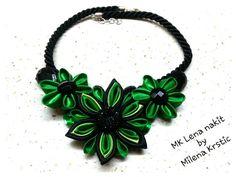 Kanzashi statement necklace; ogrlica od satena