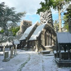 The snowy graveyard at Godric's Hollow.