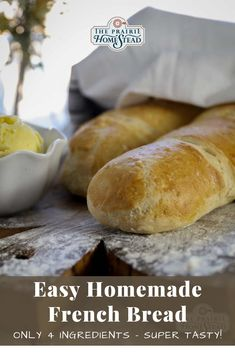 Easy Homemade French Bread Recipe: only 4 ingredients! #frenchbreadrecipe #homemadebread #easybreadrecipe Artisan Bread Recipes, Yeast Bread Recipes, Homemade French Bread, Homemade Food, Healthy Breads, Healthy Baking, Baking Recipes, Whole Food Recipes, Vegan Recipes